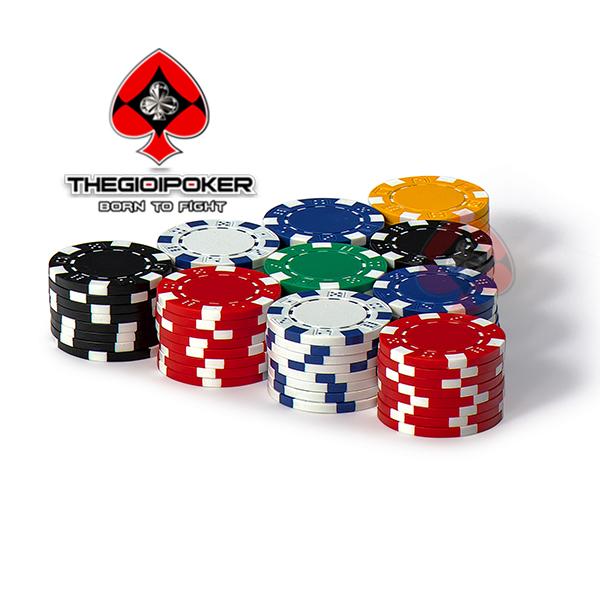 Chip Poker ABS lõi thép cao cấp của bộ chip poker 3Tone có 6 màu sắc rất đẹp
