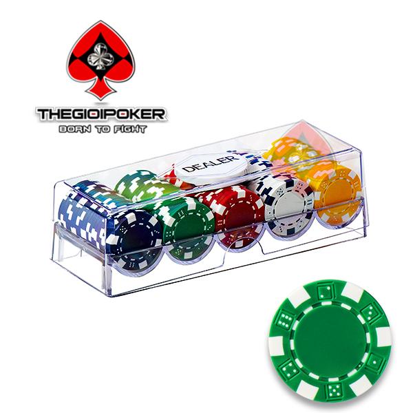 Set phỉnh poker 100 chip poker ABS không số 3 tone cao cấp