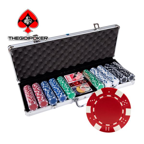 phỉnh poker không số basic chất liệu ABS lõi thép bao gồm bộ phỉnh poker 300 chip và bộ chip poker 500 phỉnh
