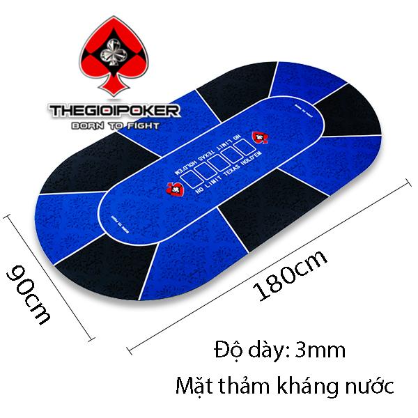 Với kích thước mat poker 90x180cm có thể chơi tối đa lên đến 10 hand poker