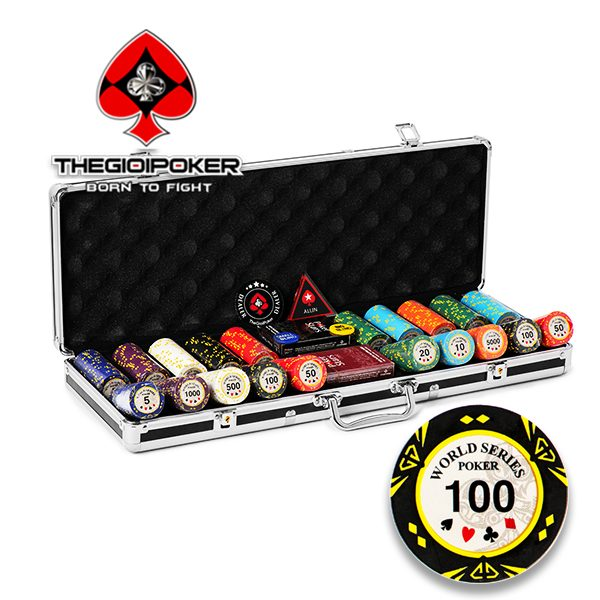Set phỉnh poker 500 chip poker clay cao cấp world series poker