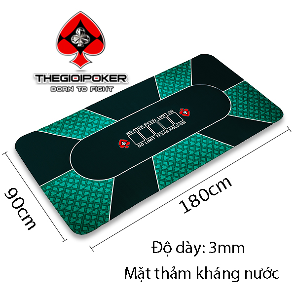 Thảm poker cao su Green với kích thước 90x180cm có thể ngồi chơi tối đa 10 người và có bề mặt thảm poker kháng nước rất tiện lợi