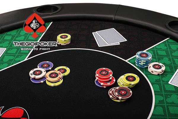 Bàn poker cao cấp chính hãng gấp đôi và chơi được 10 hand poker thoải mái