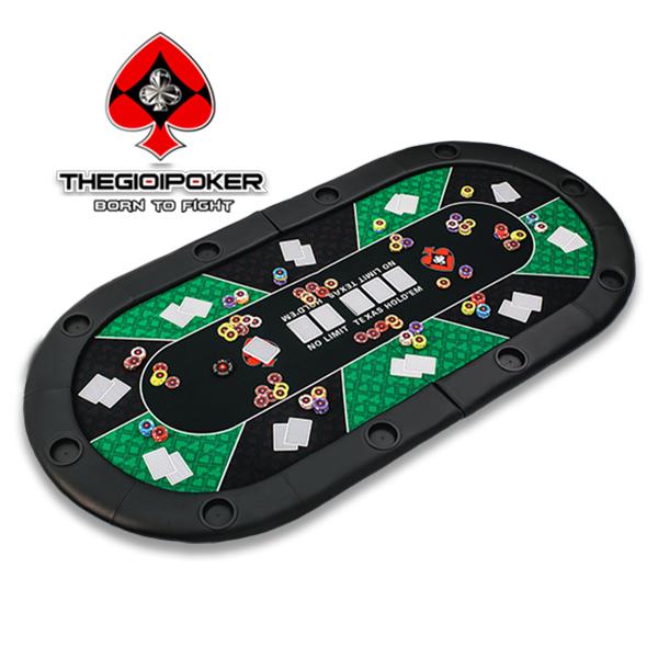 Bàn Poker nhỏ gọn có thể gập đôi kích thước 1mx2m ngồi tối đa được 10 người