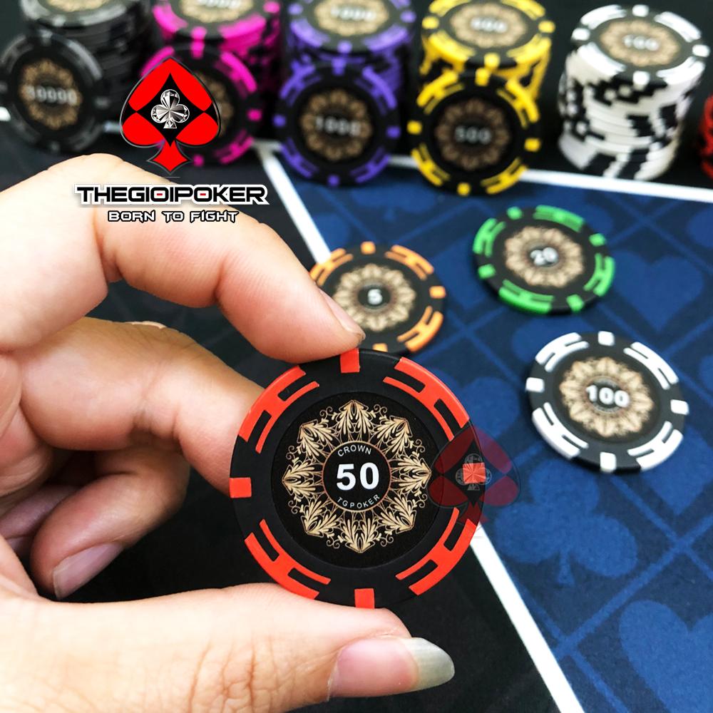 chip poker crown mệnh giá 50 màu đỏ chất liệu clay cao cấp