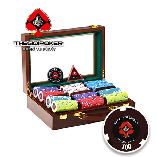 Phỉnh poker 300 chip poker ceramic the Legend đựng trong vali gỗ cao cấp sang trọng