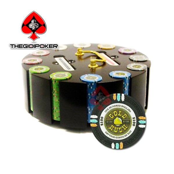 poker chip set ceramic gold rush