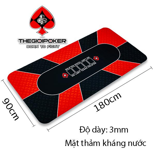 Thảm chơi poker bằng cao su cap cấp, mặt kháng nước và kích thước 90x180cm chơi 10 người