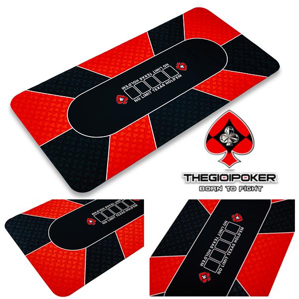 thảm poker mat được làm từ chất liệu cao su cao cấp màu đỏ hoa văn rất đẹp