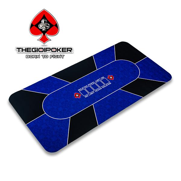 thảm poker cao su cao cấp xanh blue kích thước 90x180cm chơi được 10 người