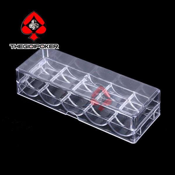tray đựng 100 chip poker có nắp đậy rát tiện dụng
