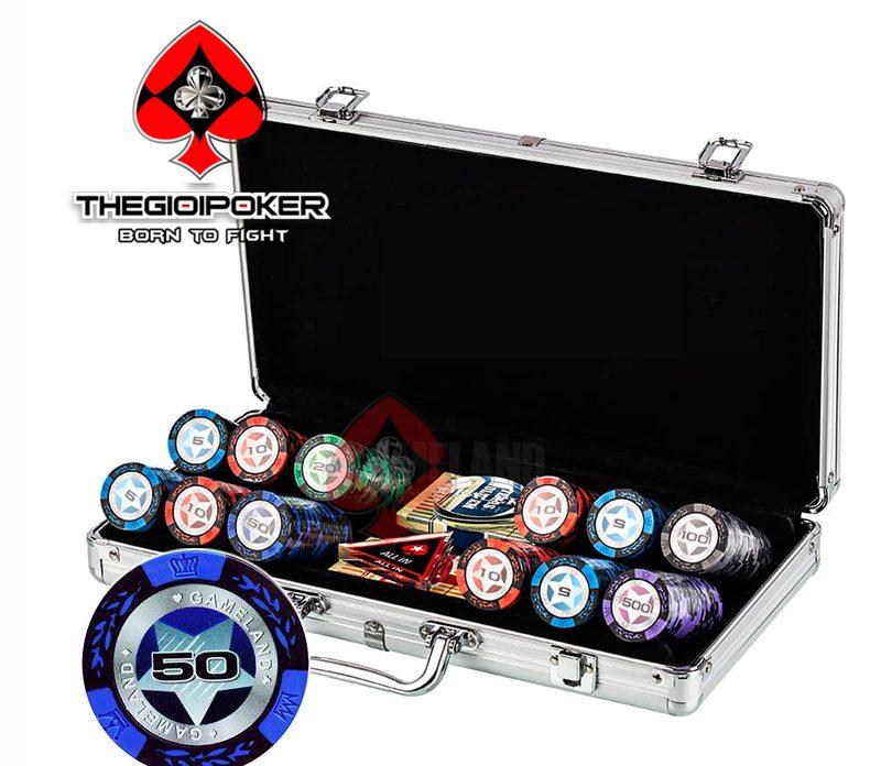 Bộ chơi poker 300 chip poker clay casino
