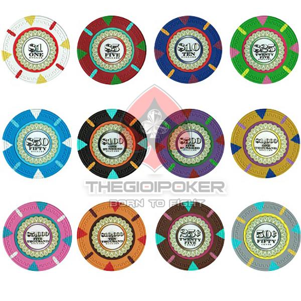 Chip Poker đủ các mệnh giá từ 1 đến 10000 để khách hàng thoải mái lựa chọn