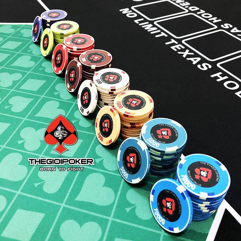 Phỉnh Poker Ceramic LEGEND đủ mệnh giá từ 10 đến 10k