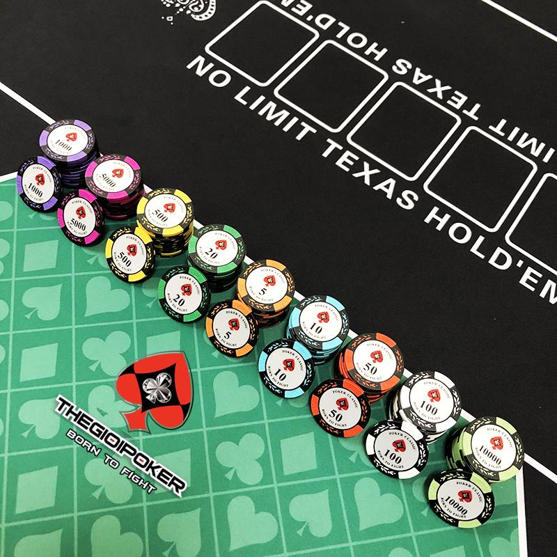Phỉnh Poker classic clay đầy đủ mệnh giá từ 1 đến 10k