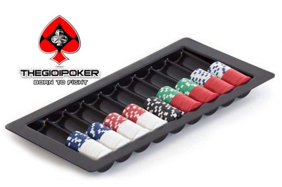 Tray 500 chip poker cao cấp chuyên đặt trên bàn poker chuyên nghiệp