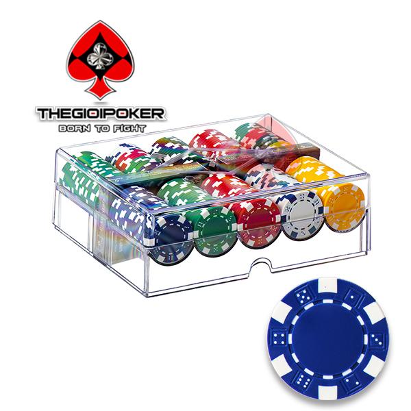 Phỉnh poker 200 chip poker ABS lõi thép không số 3Tone cao cấp