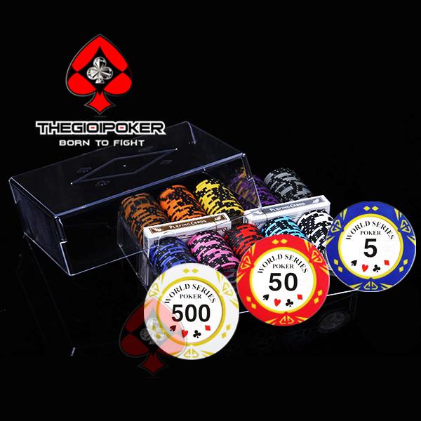 Set 200 chip poker wsop với tray acrylic cao cấp