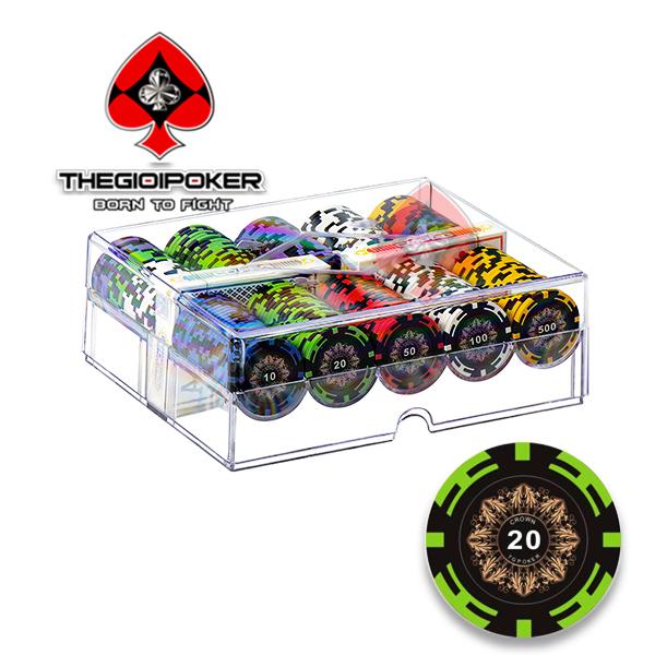 Phỉnh poker 200 chip poker clay crown cao cấp được thiết kế Thegioipoker