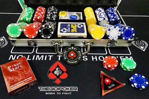 Set 300 chip poker 3 tone khống số cao cấp