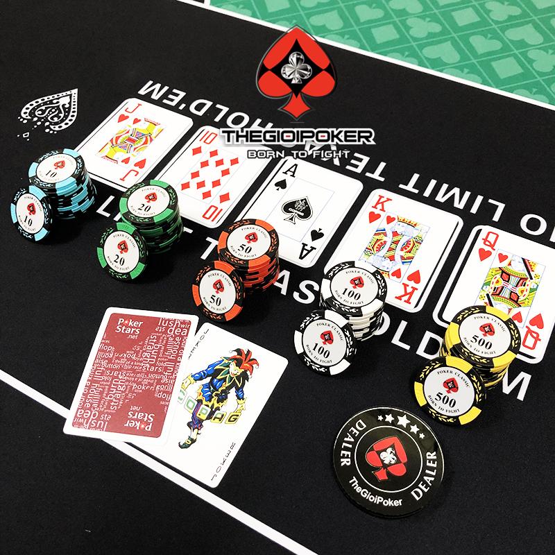 Bộ Phỉnh poker 100 chip poker classic chất liệu Clay cao cấp