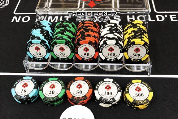 Phỉnh poker 100 chip poker classic chất liệu clay