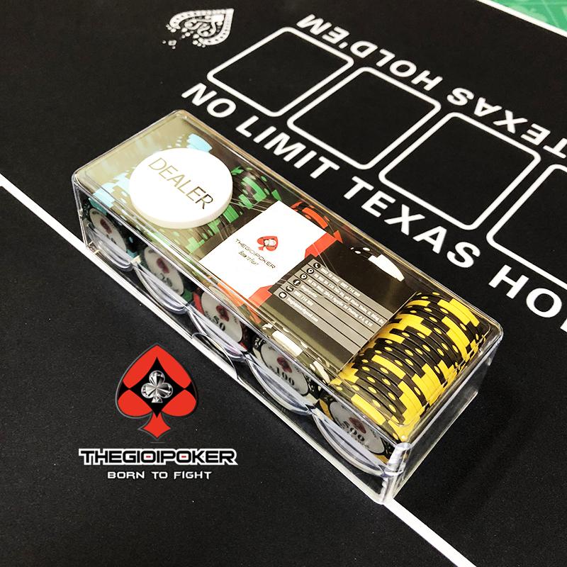 Set 100 chip poker clay được đựng trong Hộp Acrylic cao cấp