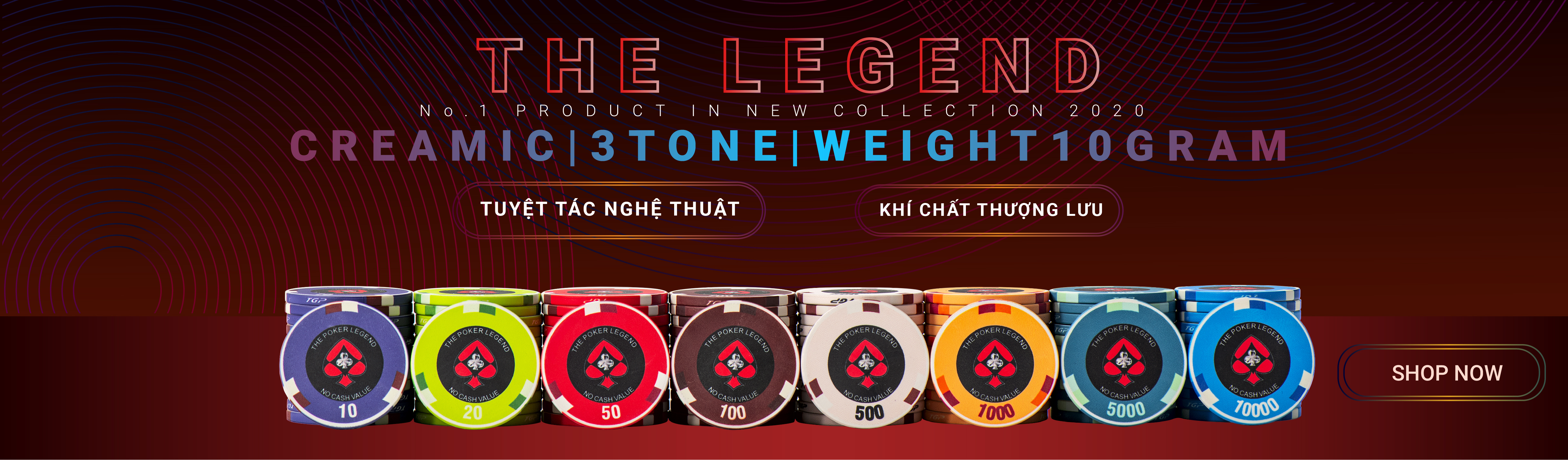 Bộ chip poker ceramic the legend
