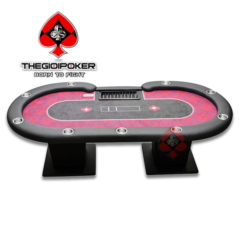 Bàn Poker table chuyên nghiệp Trefle Red được thiết kế dành cho 10 người chơi