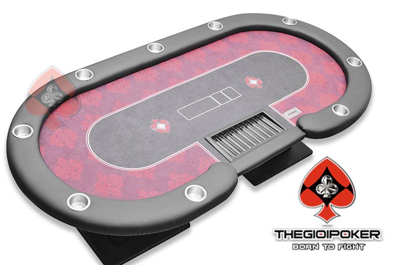 Poker table cao cấp được bọc viền nệm da xung quanh tạo cảm giác êm, dễ chịu cho người chơi