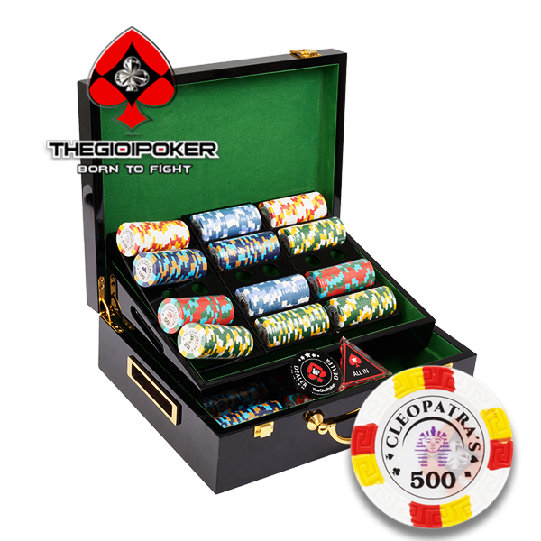 Set 500 chip Poker Clay Smith đựng trong hộp gỗ sang trọng luxury
