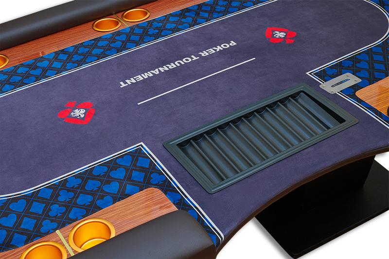 Table poker tournament được lắp Tray, hộp Rake và ly đựng đồ uống vô cùng tiện lợi và đẳng cấp
