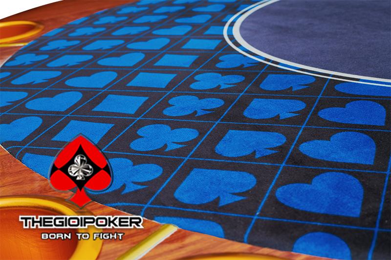poker table luxury thiế kế theo phong cách riêng với mặt thảm mịn thiết kế hình quân bài vô cùng bắt mắt
