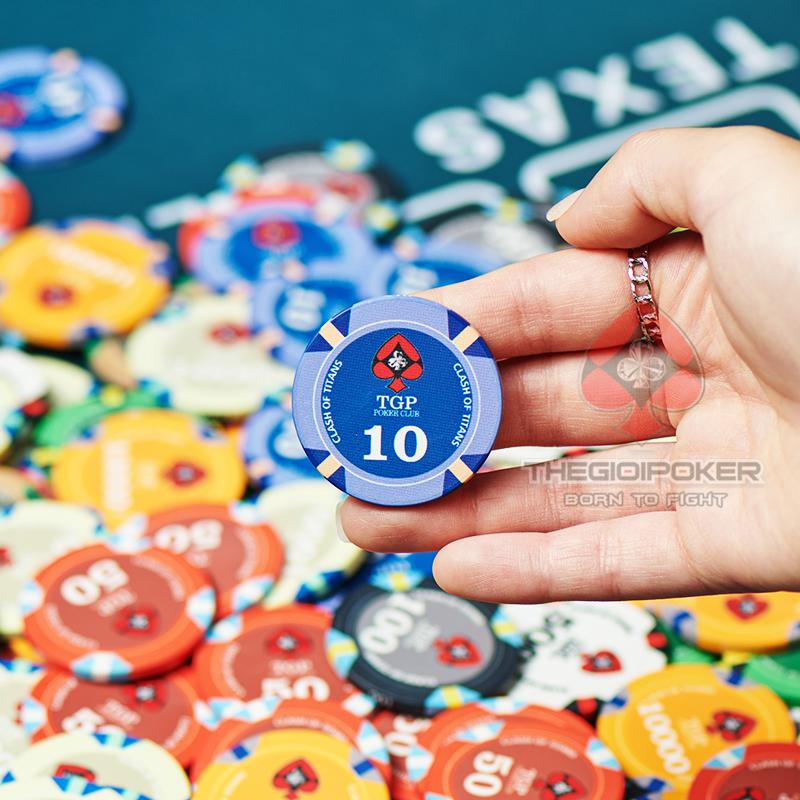 Chip Poker Ceramic mệnh giá 10 được thiết kế 3 Tone màu khá hài hoà