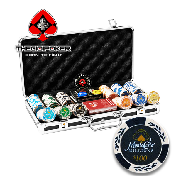 Chip Poker Clay MonteCarlo Miliion chất liệu Clay cao cấp