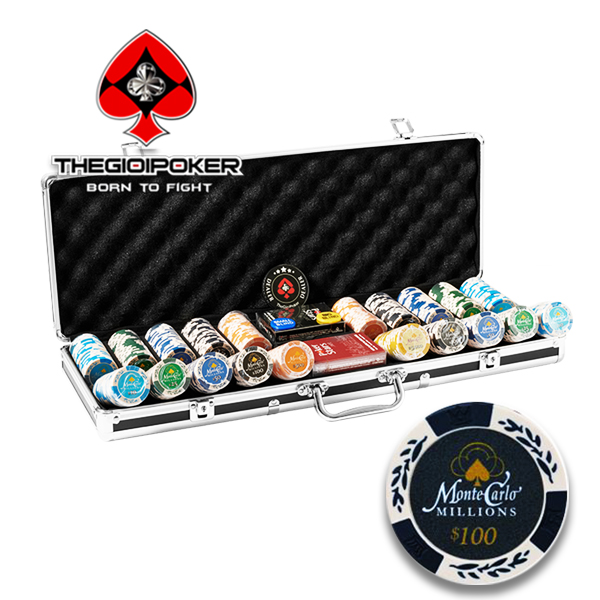Poker chip set 500 phỉnh poker Monte Carlo Millions chất liệu Clay Composite