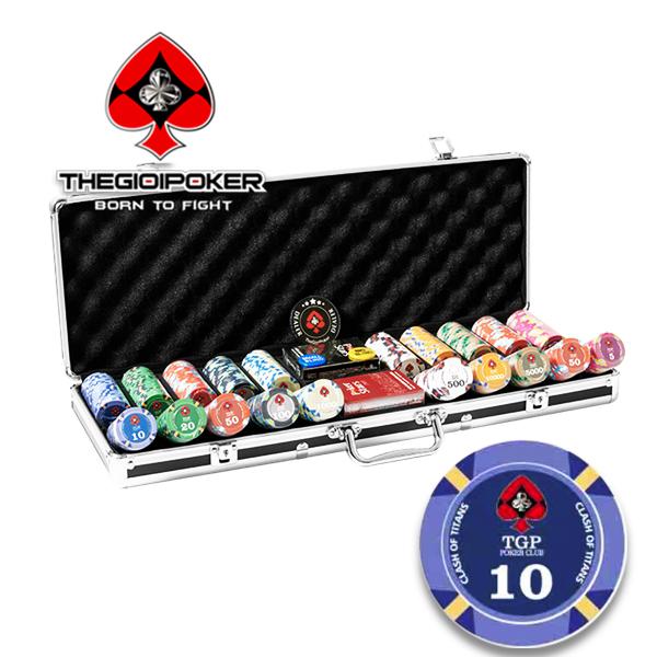 Set 500 chip poker ceramic Clash of titan mới nhất 2021