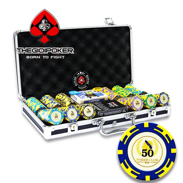 bộ chơi poker 300 chip poker chất liệu clay cao cấp