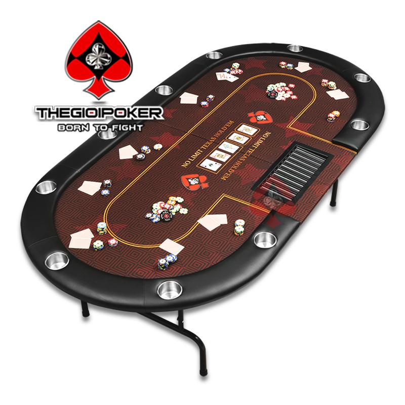 Bàn Poker chuyên nghiệp chân kim loại và mặt bàn có thể gấp đôi tiện dụng
