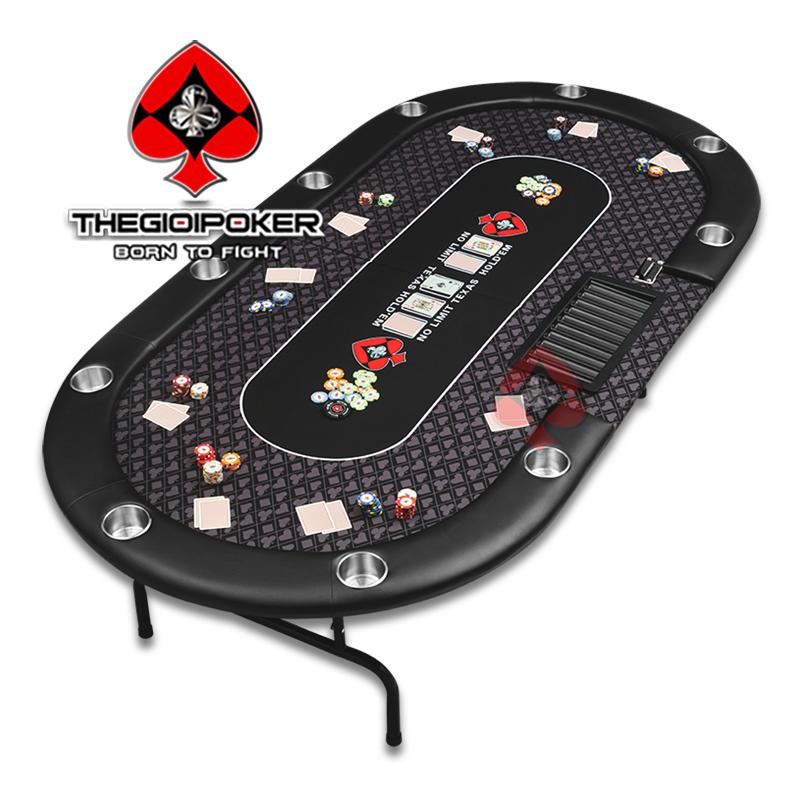 Bàn Poker Folding Showdown được thiết kế tối đa chơi cho 10 người và 1 Dealer