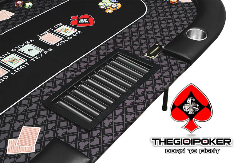 Bàn poker Showdown được trang bị 1 tray và 1 hộp rake chuyên nghiệp