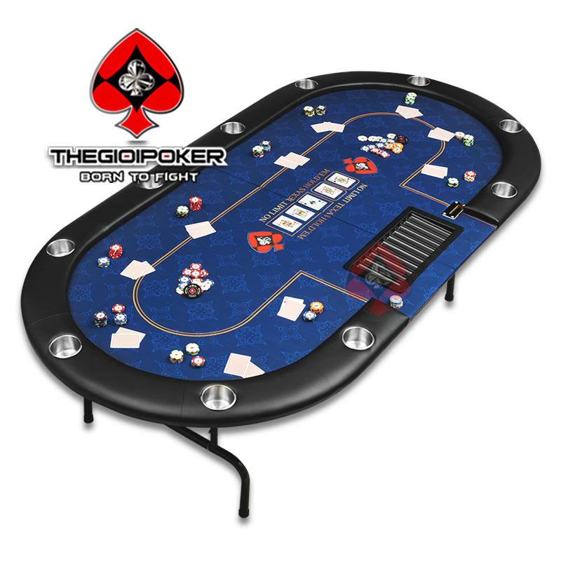 Bàn Poker Folding Crown size 1,2x2,4m có thể ngồi tối đa được 10 người chơi và 1 Dealer