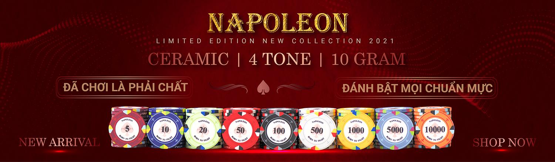 chip poker ceramic napoleon chính hãng mới nhất 2021