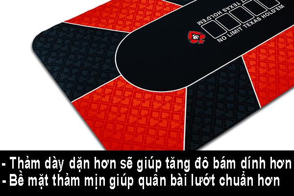 Thảm poker càng dày thì độ bám dính càng cao